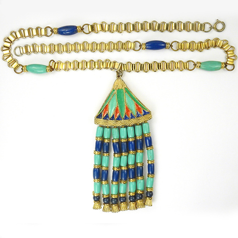 Hattie Carnegie Egyptian Revival Turquoise Lapis and Enamel Seven Pendant Necklace