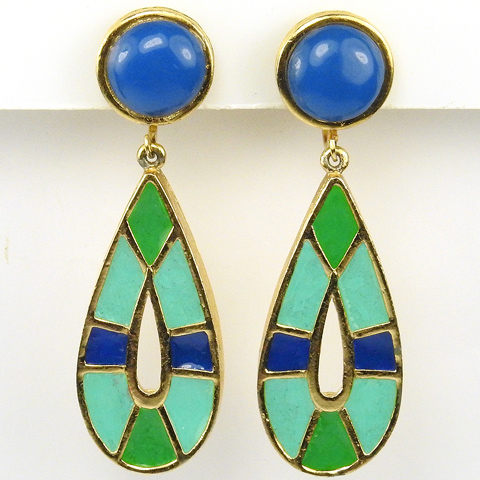 Hattie Carnegie Lapis Turquoise and Jade Egyptian Pendant Loops Clip Earrings