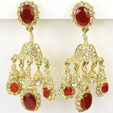 Kenneth Lane Gold Pave and Rubies Five Pendant Clip Earrings