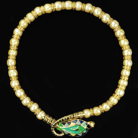 Hattie Carnegie Gold Pearls and Enamel Egyptian Snake Necklace