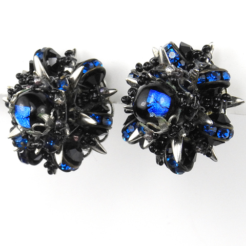 Alice Caviness Sapphire Gemstones and Rings with Onyx Beads Starburst Clip Earrings
