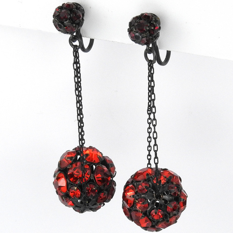 Hattie Carnegie Ruby Globes on Chains Pendant Clip Earrings