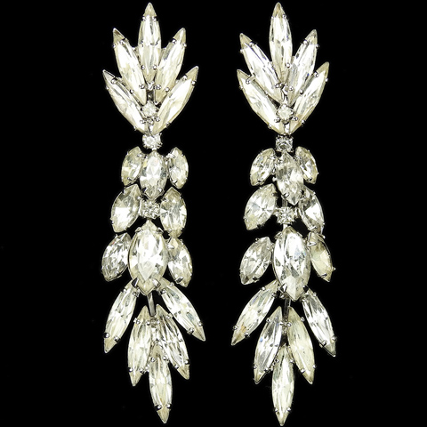 Hattie Carnegie (unsigned) Diamante Navettes Pendant Cascade Clip Earrings