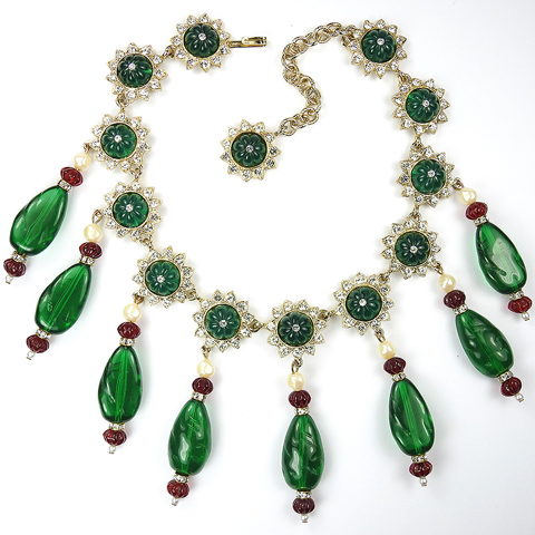 Kenneth Lane Gold Melon Cut Rubies and Emeralds Moghul Style Necklace