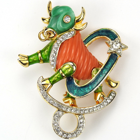 DeNicola Coral and Jade Taurus Astrological Zodiac Star Sign Pin