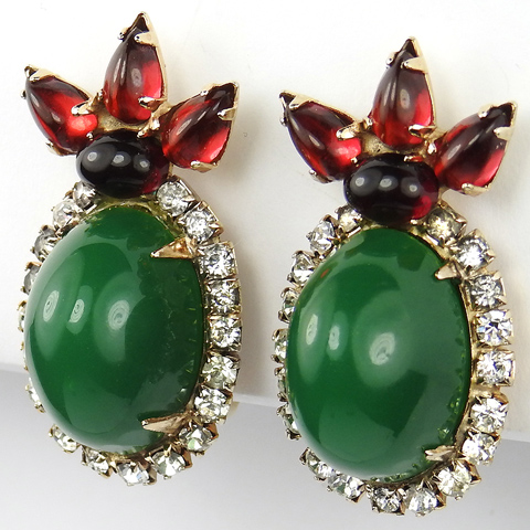 Hattie Carnegie Pave Ruby and Emerald Cabochons Clip Earrings