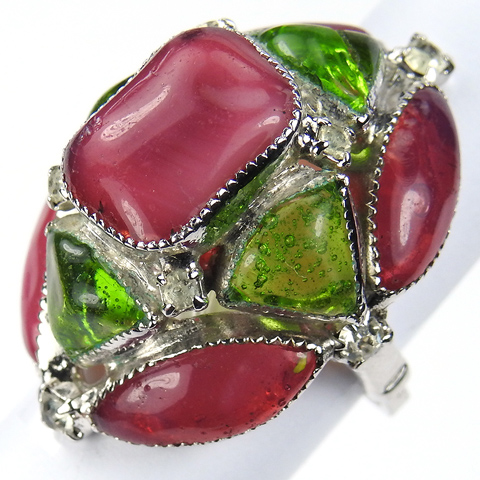 Hattie Carnegie Green and Pink Poured Glass Finger Ring