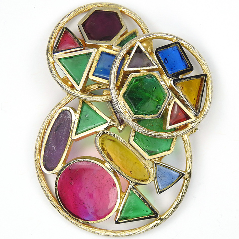 DeNicola Modernist Geometric Shapes Abstract Triangles Hexagons Circles Squares and Elipses Gold and Stained Glass Pin
