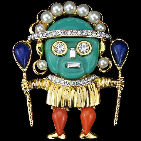 Kenneth Lane Gold Jade Lapis and Coral Aztec Warrior Pin
