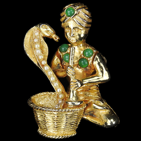 Hattie Carnegie Gold Jade and Pearls Snake Charmer with Snake Pin