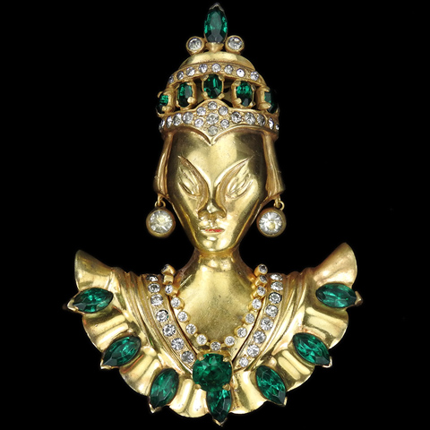 Hattie Carnegie Gold Pave and Emeralds Asian Empress or Oriental Princess Pin Clip
