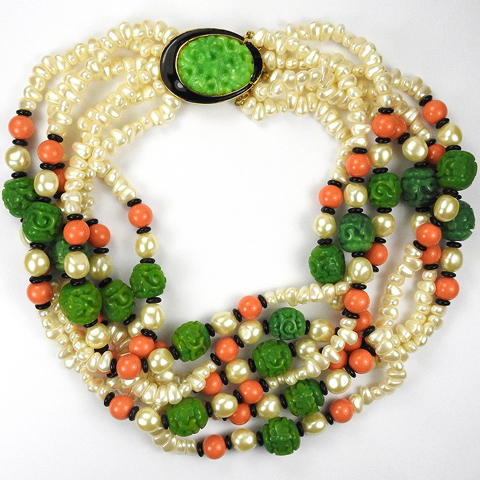 Kenneth Lane Six Stranded Pearls, Coral and Jade Necklace