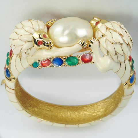 Hattie Carnegie Gold White and Fired Enamel and Baroque Mabe Pearl Lions Rampant Bangle Bracelet