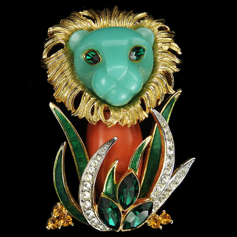 Hattie Carnegie Gold Pave Coral and Turquoise Lion in the Grass Pin