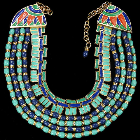 Hattie Carnegie Egyptian Revival Gold Turquoise Lapis and Enamel Five Stranded Collar Necklace