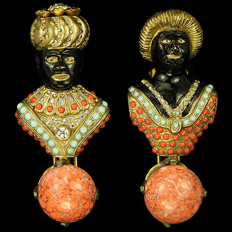 Hattie Carnegie Gold Turquoise Coral and Carnelian Pair of Lady and Gentleman Blackamoors with Turbans Pin Clips