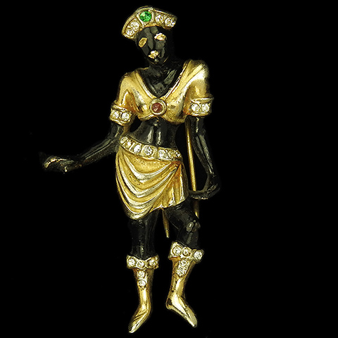 Hattie Carnegie Gold Pave and Black Enamel Blackamoor Dancing Princess Pin Clip