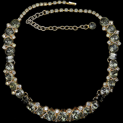Hattie Carnegie 'Jewels of Fantasy' 'Jeweled Smoke' Gold and Black Diamond Choker Necklace