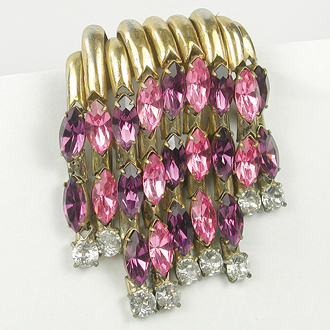 Hattie Carnegie Gold Amethyst Pink Topaz and Diamond Waterfall Cascade Deco Dress Clip