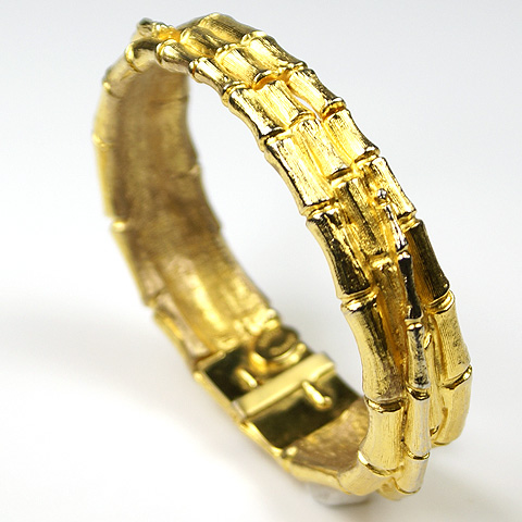 Hattie Carnegie Gold Woven Bamboo Bangle Bracelet