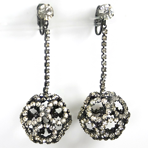 Hattie Carnegie Japanned Metal and Diamante Buckyball Pendant Clip Earrings
