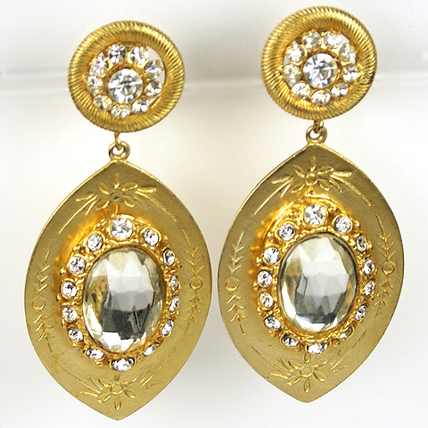 Hattie Carnegie Gold Engraved Lens Shaped Plaques and Diamonds Pendant Clip Earrings