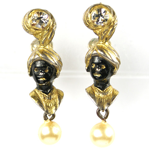 Hattie Carnegie (unsigned) Turbanned Blackamoors with Jewels and Pendant Pearls Clip Earrings