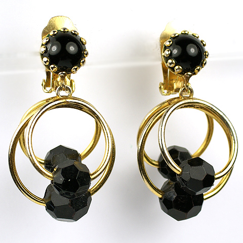 Hattie Carnegie Jet Cabochons and Polyhedrons Triple Gold Rings Pendant Clip Earrings
