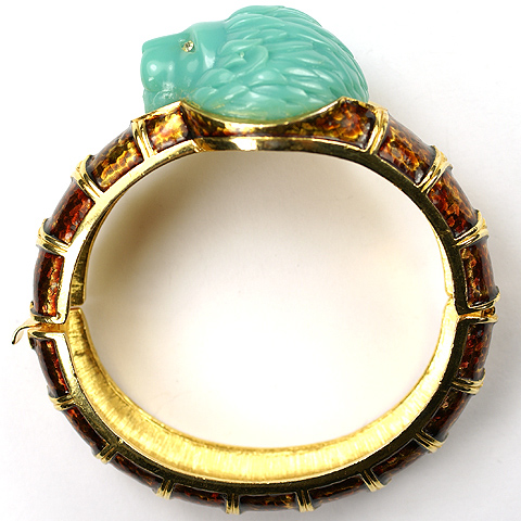 Hattie Carnegie Turquoise Lion's Head Bangle Bracelet