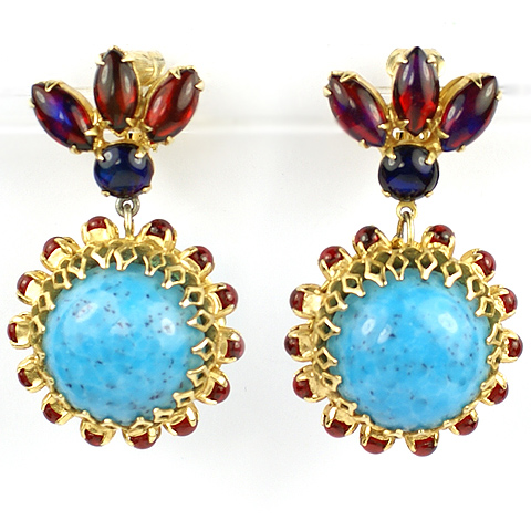 Hattie Carnegie Gold Filigree Turquoise and Ruby Cabochons Pendant Clip Earrings