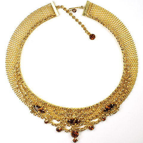 Hattie Carnegie Golden Braid with Tracery and Topaz and Citrines Choker Necklace