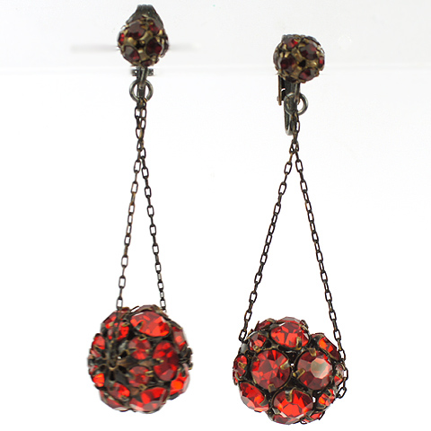 Hattie Carnegie Ruby Buckyballs on Chains Pendant Clip Earrings