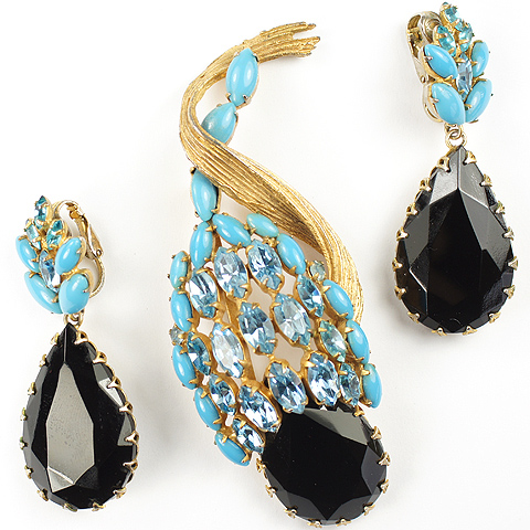 Hattie Carnegie Gold Turquoise Aquamarine and Onyx Fruits Pin and Pendant Clip Earrings Set