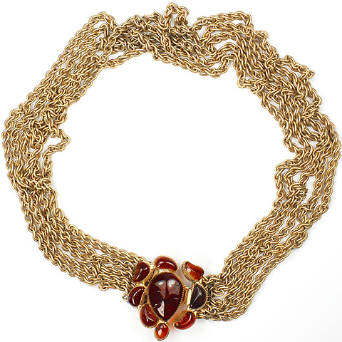 Hattie Carnegie Five Gold Chains and Ruby Poured Glass Necklace