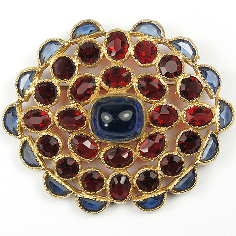 Hattie Carnegie Gold, Sapphire Cabochon and Demilunes, and Rubies Pin