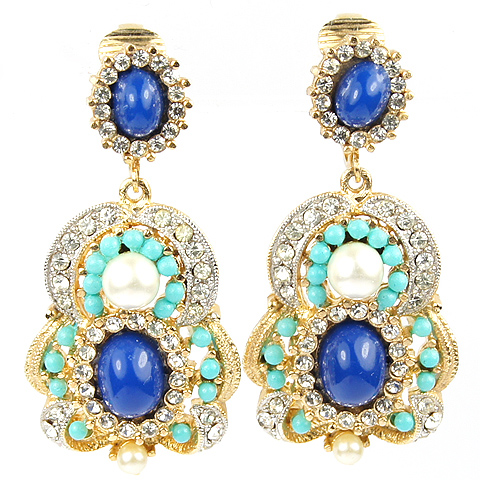 Hattie Carnegie (unsigned) Gold Lapis Turquoise and Pearls Figure of Eight Pendant Clip Earrings