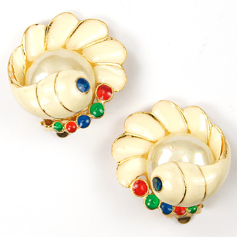 Hattie Carnegie Pearl in Enamel Sea Shell Clip Earrings