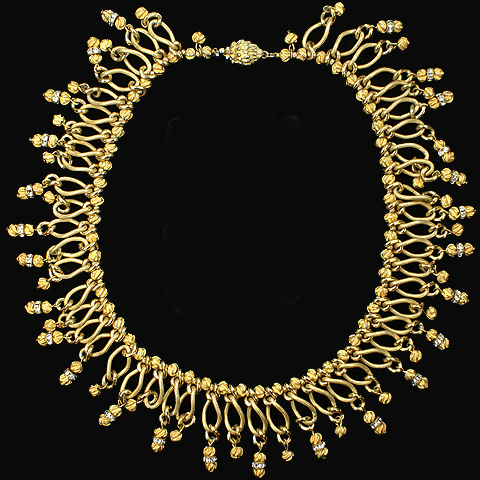 Hattie Carnegie Gold Nuggets and Pendant Spangled Tassels Necklace