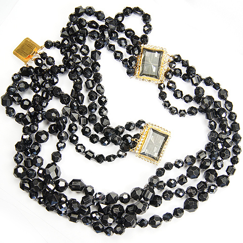 Hattie Carnegie Onyx Beads and Invisibly Set Black Diamonds Long Two Clasp Necklace or Necklace and Bracelet Set
