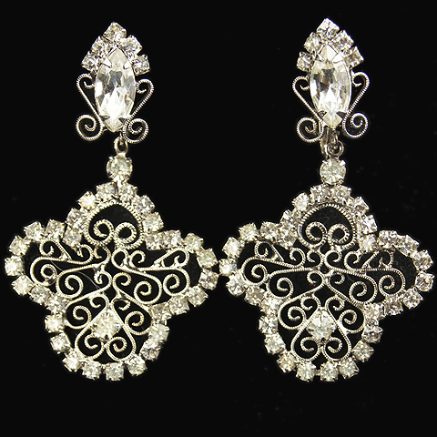 Hattie Carnegie (unsigned) Diamante and Silver Scrolls Pendant Clip Earrings