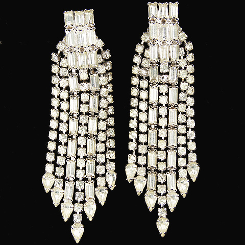 Hattie Carnegie Pave and Baguette Multiple Tassels Pendant Clip Earrings