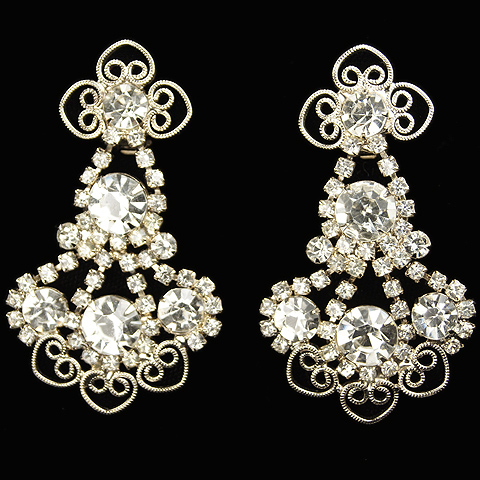 Vintage KJL Diamante and Filigree Pendant Clip Earrings