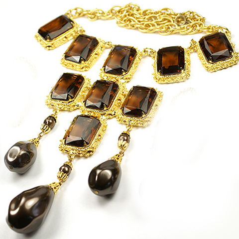 Hattie Carnegie (unsigned) Gold Chains Square Cut Topaz and Pendant Teardrop Grey Baroque Pearls Necklace