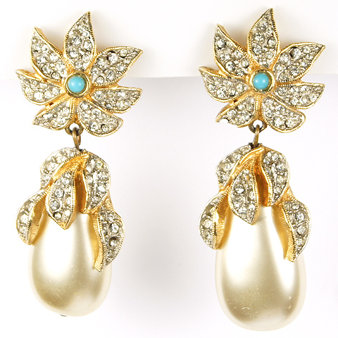 Vintage KJL Pave Starflower, Turquoise Cabochon and Pendant Teardrop Pearl Clip Earrings