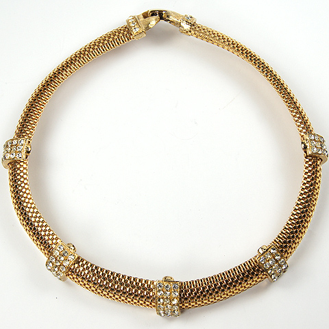 Hattie Carnegie Braided Gold and Pave Bindings Choker Necklace