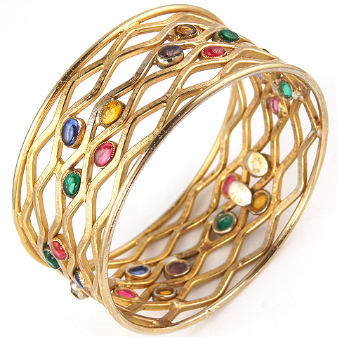 Hattie Carnegie Gold Lattice Waves and Multicoloured Poured Glass Accents Circular Bangle Bracelet