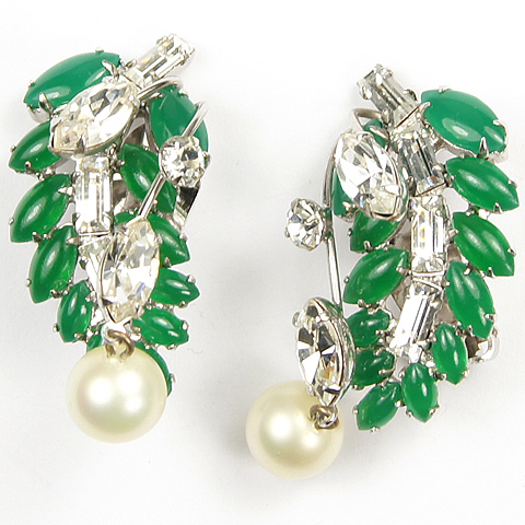 Hattie Carnegie Emerald and Diamante Leaf with Pendant Pearl Raindrops Clip Earrings