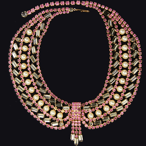 Hattie Carnegie (unsigned) Pink Topaz Black Diamond Baguettes and Pearls Cravat Necklace