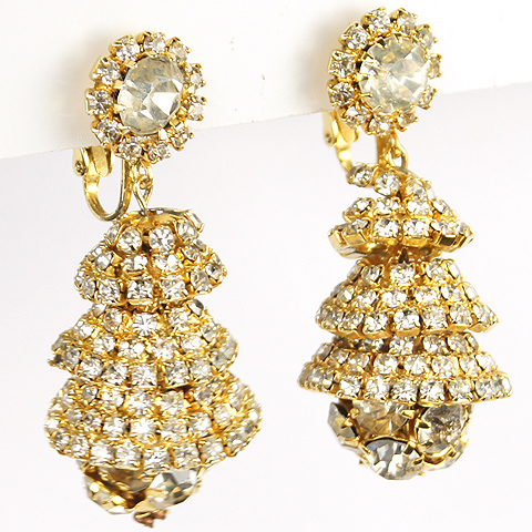 Hattie Carnegie Gold and Pave Pendant 'Bells' Clip Earrings