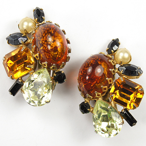 Hattie Carnegie Citrine Topaz Amber Onyx and Pearl Gemset Clip Earrings